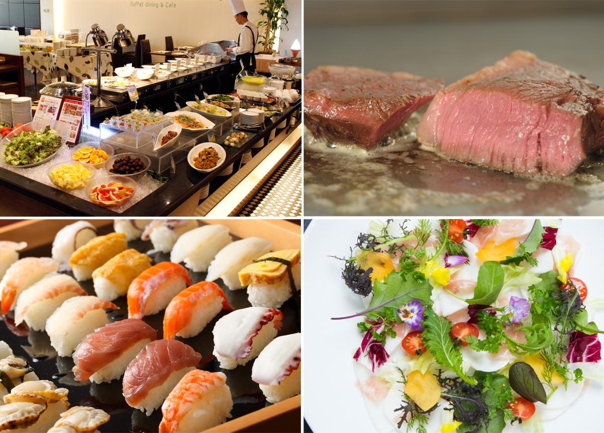 【4月ランチブッフェ】<br />新生活のスタートはフォーリーフガーデンから! <br />ステーキ・・・約40種のメニュー食べ放題!