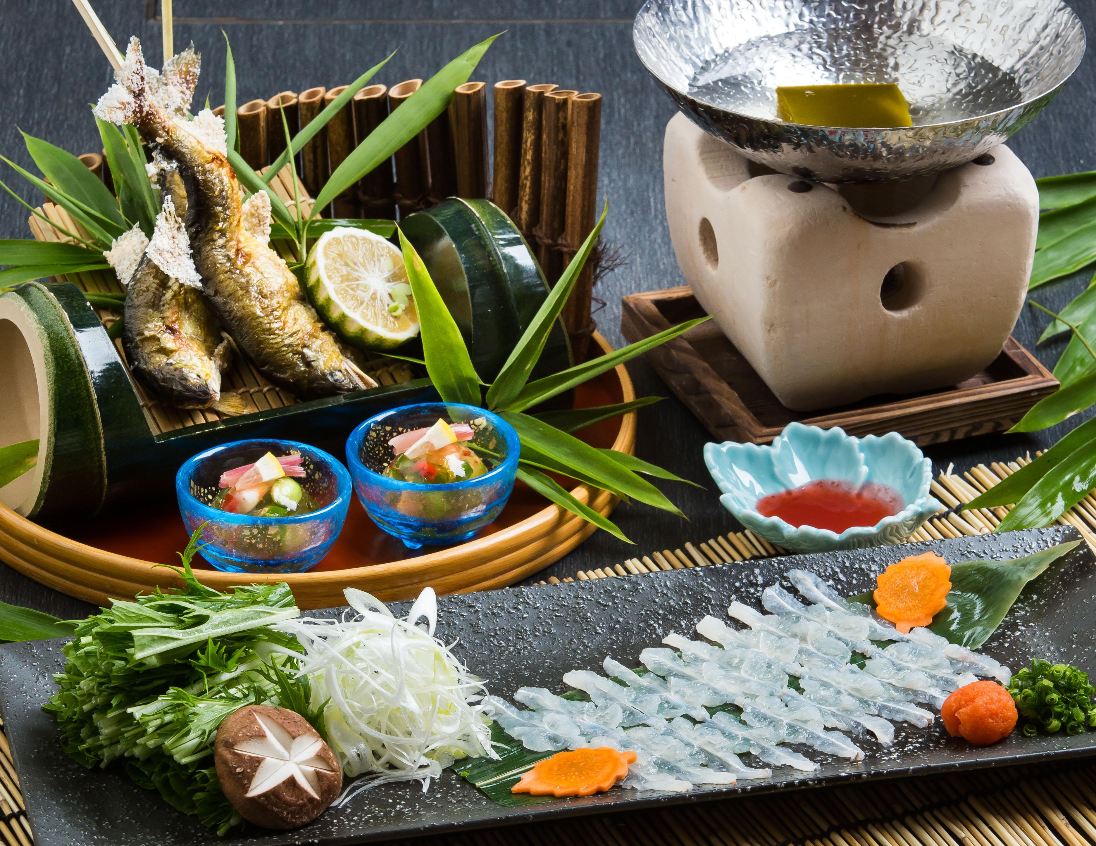 【日田産鮎の塩焼と鱧しゃぶ懐石】登場!<br />旬の食材を同時に楽しめる!