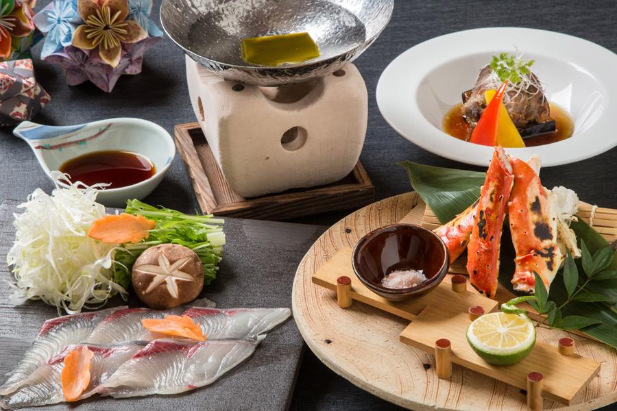【焼きタラバ蟹とかぼすブリしゃぶ懐石】旬の旨みを味わう