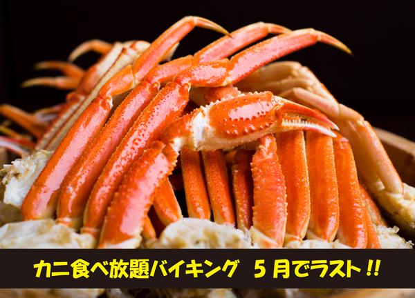 【5月ディナー】SPECIAL DINNER  ~今月ラスト!カニ食べ放題バイキング!~</br>ズワイガニ2種&グルメバイキング